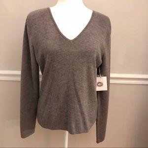 Sarah Spencer Merino Wool Sweater Large Gray
